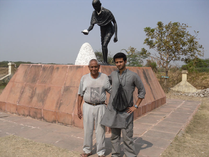 Me and my uncle outside the Gandhi museum in Dandi